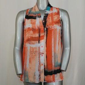 Worthington Orange Brushed Sleeveless Blouse, 1X